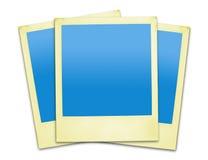 Gealterte gelbe Polaroide (Ausschnittspfade eingeschlossen) Lizenzfreie Stockfotos