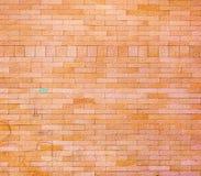 Gealterte rote Tür auf Backsteinmauer Stockfotografie