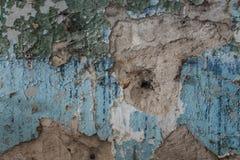 Gealterter alter roter weißer konkreter horizontaler Hintergrund Gray Brick Wall Texture Destroyeds Schäbiges städtisches unorden Stockfotografie