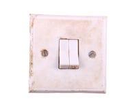 Gealterter heller Schalter getrennt auf weißem Hintergrund Stockbild