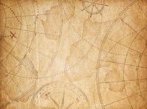 Gealterter Piratenschatz-Kartenhintergrund Stockfotos