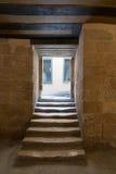 Gealterter schmaler dunkler gewölbter Durchgang und Treppenhaus Lizenzfreie Stockfotos