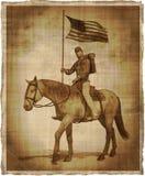 Gealtertes Bild eines Bürgerkrieg-Verbands-Soldaten zu Pferd Stockfotos