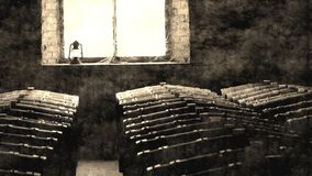 Gealtertes Foto von historischen Weinfässern im Fenster Stockfoto