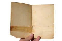Gealtertes geöffnetes Buch - getrennt Stockfotos
