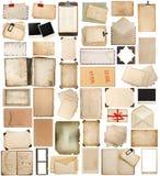 Gealtertes Papier, Bücher, Seiten und alte Postkarten lokalisiert auf Weiß Stockfotos