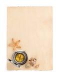 Gealtertes Papier- und Seekonzept auf Weiß Stockfoto