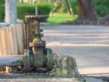 Gealtertes Wasserventil voll des Rosts und der Algen im Park Lizenzfreie Stockbilder