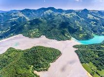 Geamana Lake aerial view. Near Rosia Poieni and Rosia Montana mi Stock Image