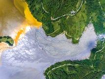 Geamana Lake aerial view. Near Rosia Poieni and Rosia Montana mi Stock Photos