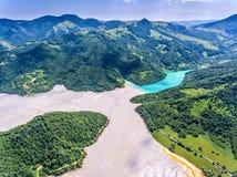 Geamana Lake aerial view. Near Rosia Poieni and Rosia Montana mi Royalty Free Stock Photography