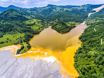 Geamana Lake nature pollution with cyanide near Rosia Montana an Stock Photo