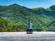Geamana village Church flodded in Rosia Montana ecological disas Stock Images