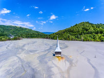 Geamana village Ghurch flooded in Rosia Montana ecological disas Stock Images