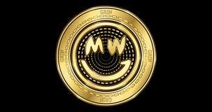 Geanimeerd cryptocurrency gouden muntstuk van de GRIJNSgrijns stock footage