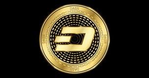 Geanimeerd cryptocurrency gouden muntstuk van het Streepjestreepje stock footage