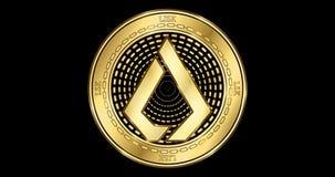 Geanimeerd cryptocurrency gouden muntstuk van Lisk LSK stock video