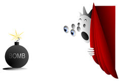 Geanimeerd karakter die die een bom bekijken achter gordijn wordt verborgen Stock Afbeeldingen