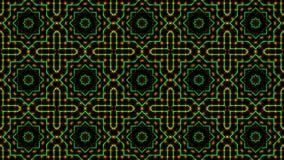 Geanimeerd licht die groene en oranje punten en sterrenvormen shinning stock illustratie