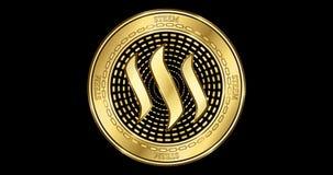 Geanimeerd Steem-cryptocurrency gouden muntstuk stock video