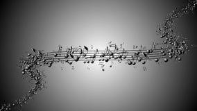 Geanimeerde achtergrond met muzieknoten, Muzieknota's het stromen