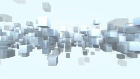 Geanimeerde bekwame de deeltjes transparante lijn van de kubusvorm het 3D teruggeven 4k stock illustratie