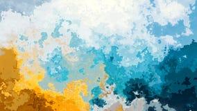 geanimeerde bevlekte het effect van de achtergrond naadloze lijn videowaterverf hemel blauwe en zonnige gele kleur stock video