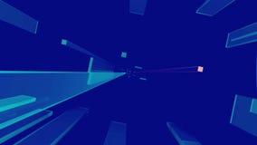 Geanimeerde blauwe bars omgezet in de ruimte stock illustratie