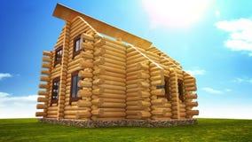 Geanimeerde bouw van logboekhuis royalty-vrije illustratie