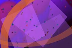 Geanimeerde confettienregens in een purpere en oranje montering van kleur vector illustratie