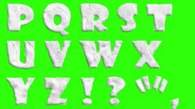 Geanimeerde die kleidoopvont bij van het chroma de zeer belangrijke groene scherm animatie als achtergrond alle letters, punctuat stock illustratie