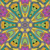Geanimeerde gezichten in een cirkelvorm Spel van Kleuren de samenvatting trekt stock illustratie