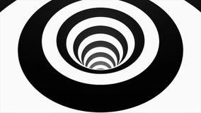Geanimeerde hypnotic tunnel met witte en zwarte vierkanten Gestreepte optische illusie driedimensionele geometrische wormhole stock illustratie