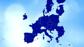 Geanimeerde kaart met bokeh die het UK tonen die van de EU-kaart worden gewist vector illustratie