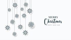 Geanimeerde Kerstmisgroet op witte achtergrond stock illustratie