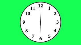 Geanimeerde klok die onderaan 12 uren tellen meer dan 30 seconden stock video