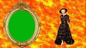 04 Geanimeerde mannequin die met abstracte achtergrond en groene spiegel lopen royalty-vrije illustratie