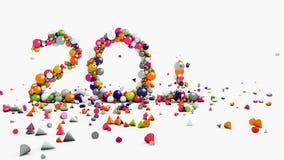 Geanimeerde motiegrafiek, 2017, Nieuwjaar en Kerstmisconcept, fontein die geometrische voorwerpen verspreiden die op vloer vallen stock videobeelden