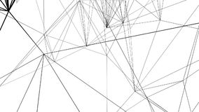 Geanimeerde onderling verbonden zwarte geometrische lijnen over een witte achtergrond stock videobeelden