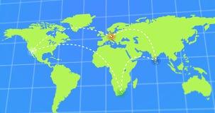 Geanimeerde Reis en Zakenreis Infographic op de Teruggegeven Illustratie van de Aardekaart 4k Royalty-vrije Stock Afbeelding