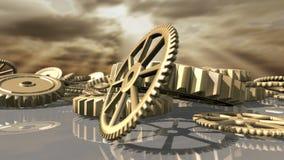 Geanimeerde steampunk uitstekende uurwerkwielen neer gevallen het 3d teruggeven 4K vector illustratie
