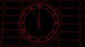 Geanimeerde uitstekende klok op bakstenen muurachtergrond Duur 10 seconden aan 12 uur Het rode overzicht driwing vector illustratie