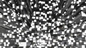 Geanimeerde Van een lus voorziende Zwart-wit Abstracte Achtergrond met Rechthoekige Weerspiegelende Blokken stock footage