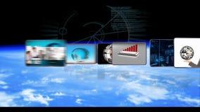 Geanimeerde video's van zakenlui globale zaken en DNA-technologie stock videobeelden