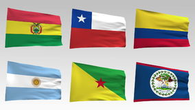 Geanimeerde vlaggen van de inzameling van Amerika met alpha- kanaal, Bolivië, Chili, Colombia, Argentinië, Frans Guinea, Belize vector illustratie