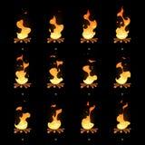 Geanimeerde vlam van het beeldverhaal de vectorvuur sprites stock illustratie