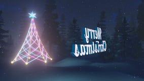 Geanimeerde Vrolijke Kerstmis bij donkere lijn-Bekwame nacht royalty-vrije illustratie