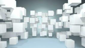 Geanimeerde witte kubus dynamische schok in de ruimte stock videobeelden