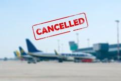 Geannuleerd vluchtconcept stock afbeeldingen