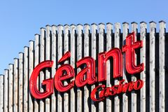 Geant Casino logo on a facade Royalty Free Stock Image